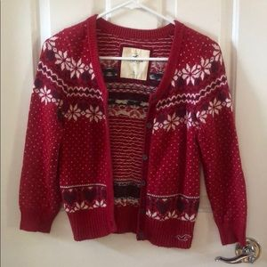 Hollister Christmas Holiday Red Fair Isle Cardigan